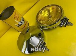 NEU Satz Chrom Fernscheinwerfer gelb universal Oldtimer Youngtimer Rallye Retro