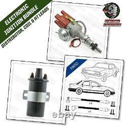 Ford Pinto Distributeur Électronique Ohc 4 Cyl Engine Avec Black 8mm Leads & Coil